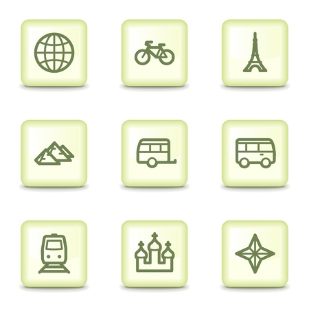 Travel web icons set 2, salad green buttons Vector