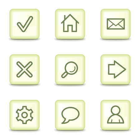 Basic web icons, salad green buttons Vector