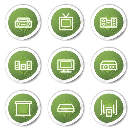 Audio video web icons, green  stickers Stock Vector - 13451651