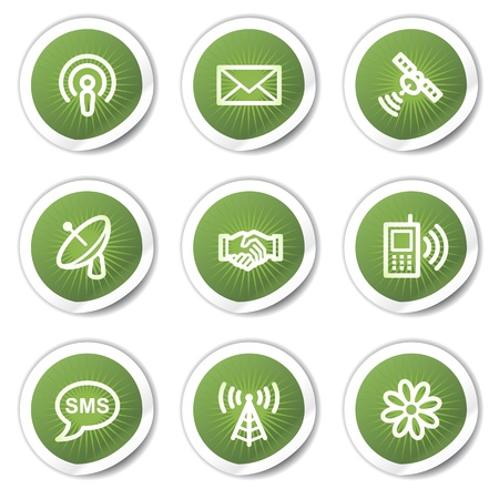 access point: Communication web icons, green  stickers Illustration