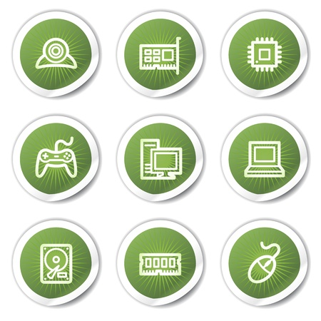 Computer web icons, green  stickers Stock Vector - 13451673