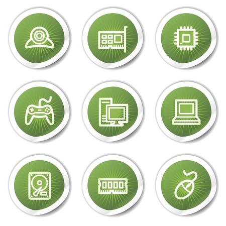 webcamera: Computer web icons, green  stickers Illustration