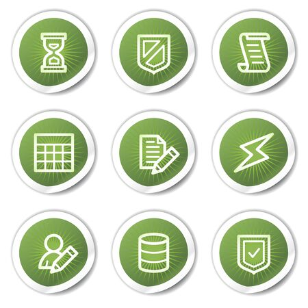 Database web icons, green  stickers Vector
