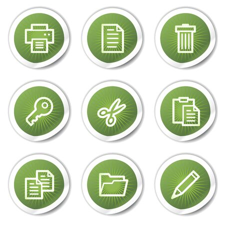 edit icon: Document web icons set 1, green  stickers