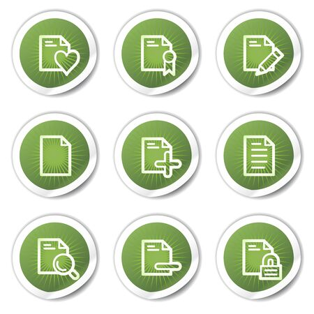 edit icon: Document web icons set 2, green stickers Illustration