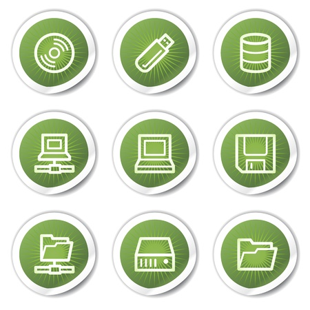 Drives and storage web icons, green stickers Stock Vector - 13451638