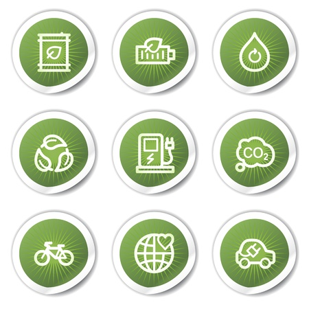 Ecology web icons set 4, green  stickers Vector