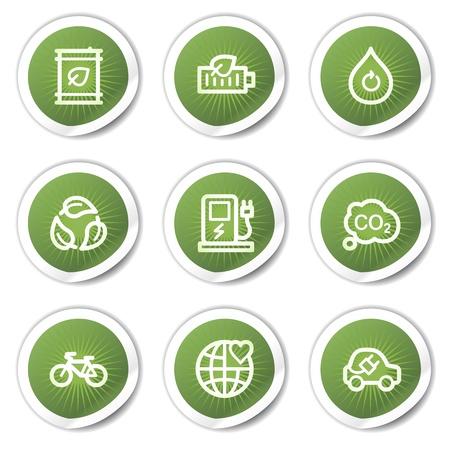electro world: Ecology web icons set 4, green  stickers