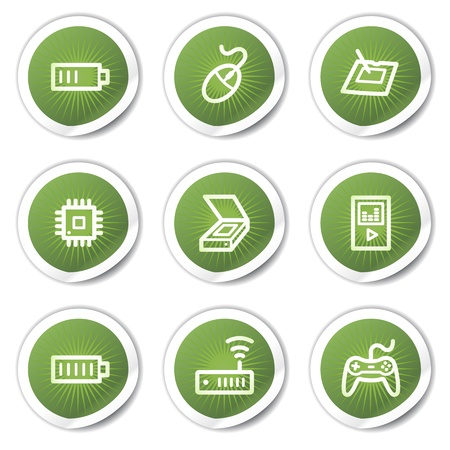 Electronics web icons set 2, green  stickers Stock Vector - 13451659