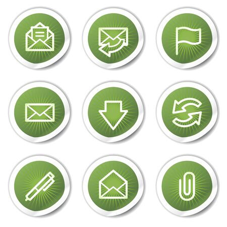E-mail web icons, green  stickers Vector