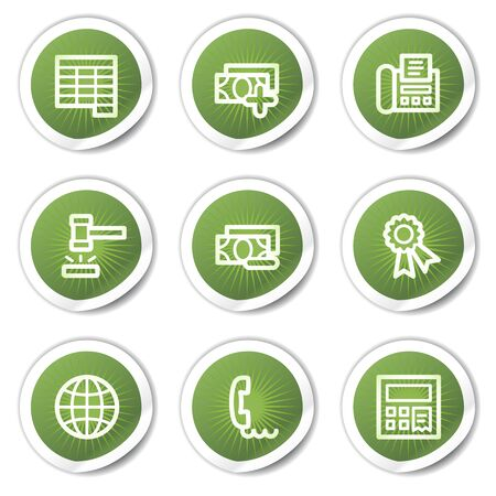 Finance web icons set 2, green  stickers Vector
