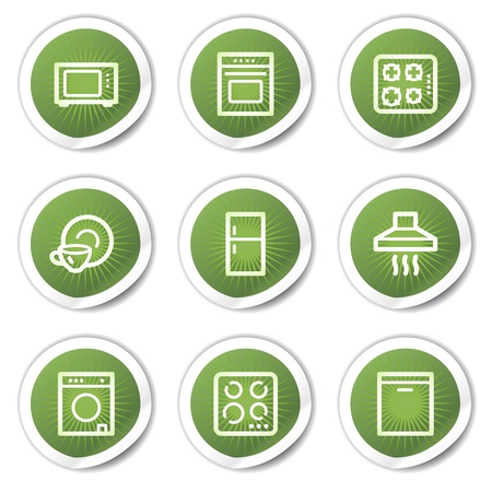 Home appliances web icons, green stickers Stock Vector - 13451661