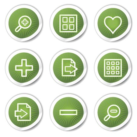 Image viewer web icons set 1, green  stickers Stock Vector - 13451641