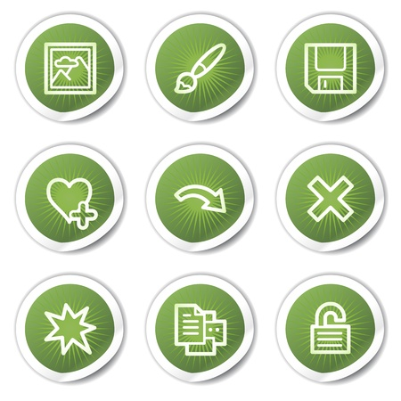 Image viewer web icons set 2, green  stickers Stock Vector - 13451640