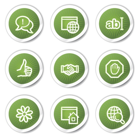 Internet web icons set 1, green  stickers Vector