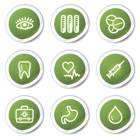 Medicine web icons set 1, green  stickers Vector