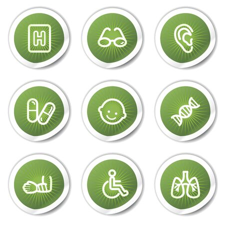 Medicine web icons set 2, green  stickers Vector