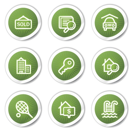 swimming pool home: Real estate web icons, green  stickers