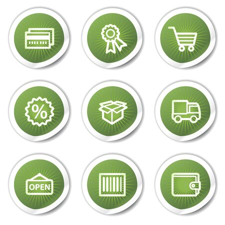 Shopping web icons set 2, green stickers Stock Vector - 13451658