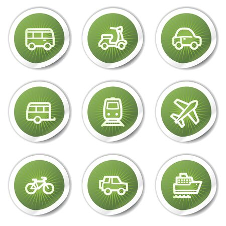 Transport web icons, green  stickers Stock Vector - 13451662