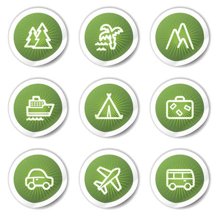 air liner: Travel web icons set 1, green stickers