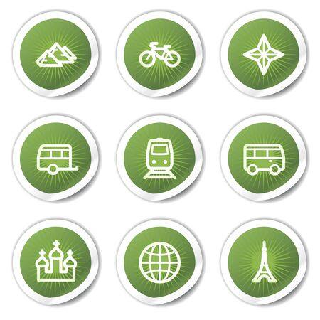Travel web icons set 2, green stickers Vector