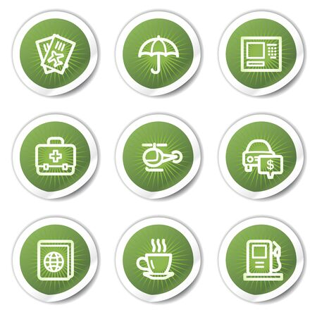 Travel web icons set 4, green stickers Vector