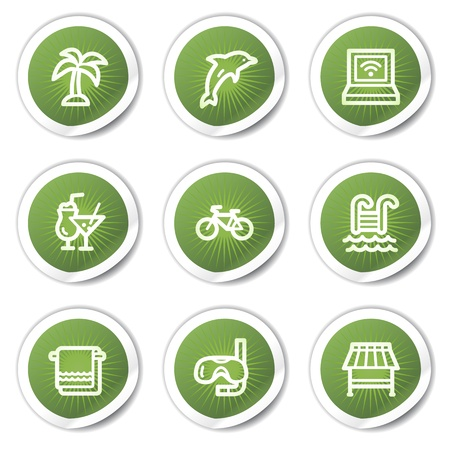 Vacation web icons, green  stickers Vector