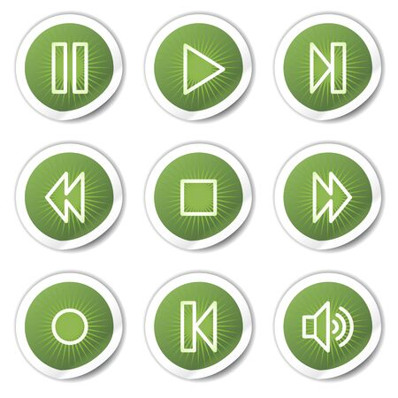 internet buttons: Music player web icons, green stickers