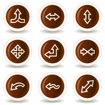 Arrows web icons set 2, chocolate buttons Vector