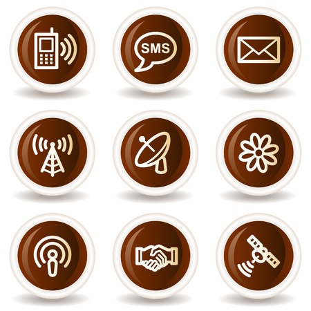 access point: Communication  web icons, chocolate  buttons Illustration