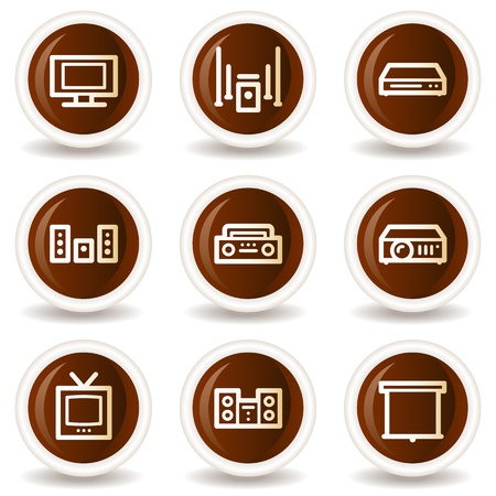 Audio video web icons, chocolate buttons Vector