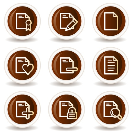 Document web icons set 2, chocolate buttons Stock Vector - 20302092