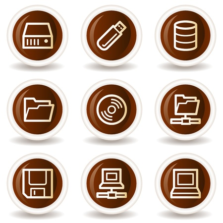 database icon: Drives and storage web icons, chocolate buttons