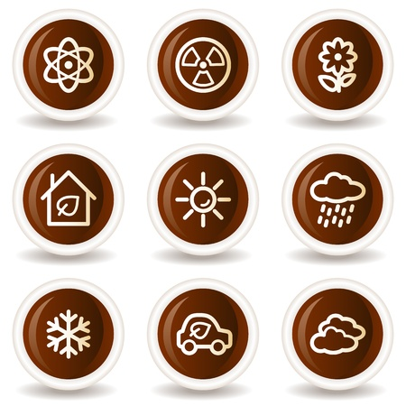 Ecology web icons set 2, chocolate buttons Vector