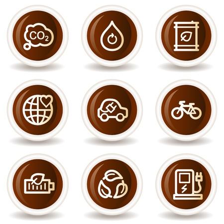 Ecology web icons set 4, chocolate buttons Vector