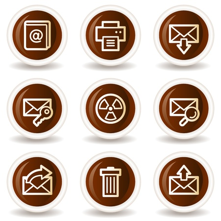 E-mail web icons set 2, chocolate buttons Vector