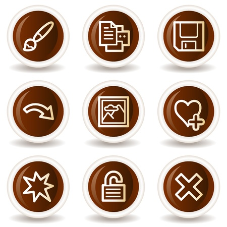 Image viewer web icons set 2, chocolate buttons Stock Vector - 20294586