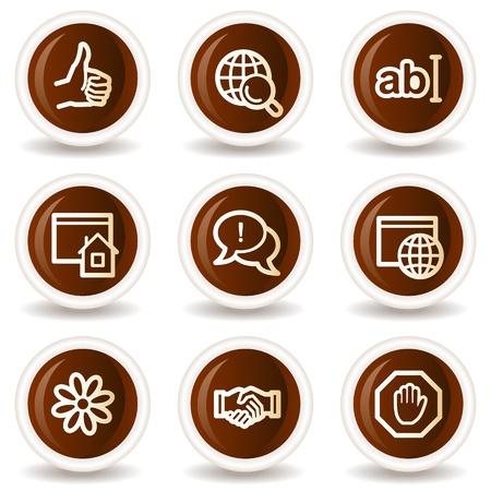 icq: Internet web icons set 1, chocolate buttons Illustration