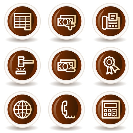 Finance web icons set 2, chocolate buttons Stock Vector - 20302147