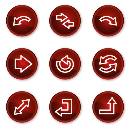 Arrows web icons set 1, dark red circle buttons Vector