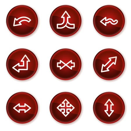 width: Arrows web icons set 2, dark red circle buttons Illustration