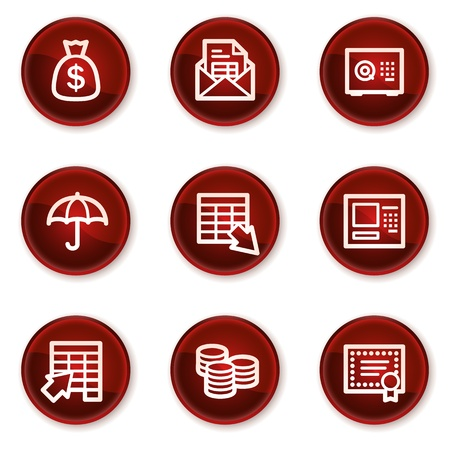 Banking web icons, dark red circle buttons Stock Vector - 21319500