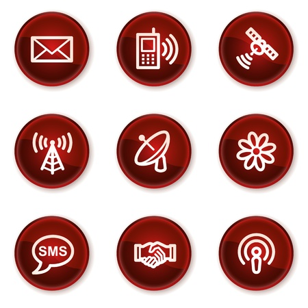 Communication web icons, dark red circle buttons Vector