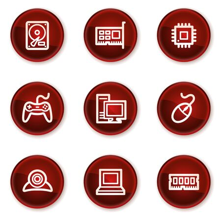 Computer web icons, dark red circle buttons