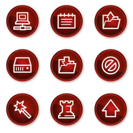 Data web icons, dark red circle buttons Stock Vector - 21319504