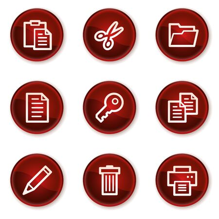 Document web icons set 1, dark red circle buttons Vector