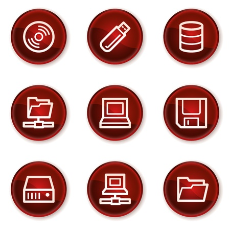 fdd: Drives and storage web icons, dark red circle buttons