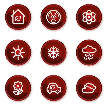 Ecology web icons set 2, dark red circle buttons Stock Vector - 21319517