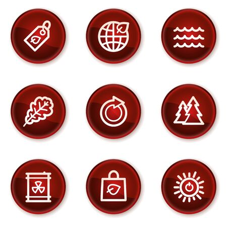 Ecology web icons set 3, dark red circle buttons Vector
